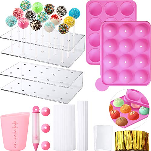 Cake Pop Maker Set, 12-Hole Silicone Cake Pop Mold with Lollipop Sticks and 15-Hole Acrylic Lollipop Holder, Measuring Cup, Decorating Pen with 4 Piping Tips, Flat Pockets and Golden Twist Ties