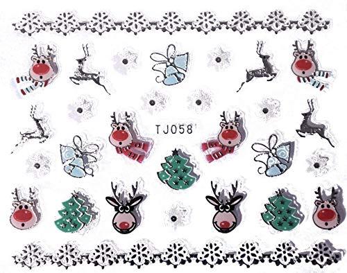 Nail Sticker für Fingernägel | Christmas 07 | 3D Optik | ca. 30 weihnachtliche Motive, selbstklebend | Nail Art wie im Nagelstudio
