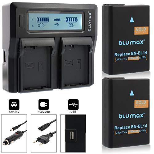 Blumax 2X Akku ersetzt Nikon EN-EL14 / EN-EL14a mit 1100mAh + Dual-Ladegerät kompatibel mit Nikon D3100 D3200 D3300 D3400 D5100 D5200 D5300 D5500 D5600 - Coolpix P7100 P7000 P7800