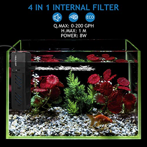 NO.17 Submersible Aquarium Internal Filter 8W, Adjustable Fish Tank Filter with 200 GPH Water Pump for 10-50 Gallon Fish Tank