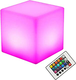 OSALADI LED Cube Chair Light Rechargeable LED Light Cube Stool Waterproof with Remote Control Magic RGB Color Changing Lig...
