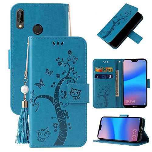 Yiizy Funda para Huawei P20 Lite, Carcasa para Huawei P20 Lite Funda de Cuero con Tapa Billetera con Tarjetero, Cierre Magnético, Interior de Silicona Carcasa Huawei P20 Lite (Azul)