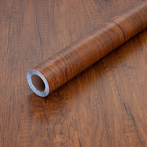 Peel and Stick Wood Grain Contact Paper 17.71' X 118' Brown Wooden Look...