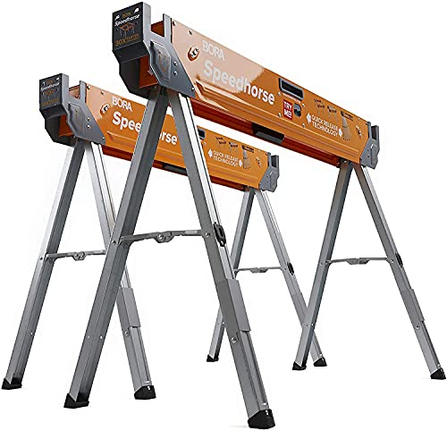 Speedhorse Sawhorse Pair– Two Pack, Table Stand with Folding Legs, Metal Top for 2x4, Heavy Duty Pro Bench Saw Horse for Woodworking, Carpenters, Contractors, PM-4500T (Sawhorse/IMPROVED)