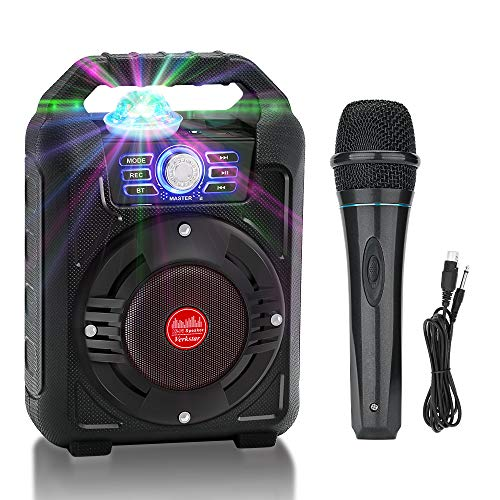 Verkstar Portable Karaoke Machine,Wireless Bluetooth PA System Rechargeable Speaker Best Gift for Kids Adults With Disco Ball & Wired Microphone for Birthday Party,Thanksgiving,Christmas