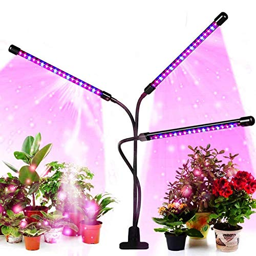 Led Grow Light for Indoor Plants and Potted Plants 3 Heads Timing Planting Lights (3/9/12 Hour Timer) Full Spectrum, 10 Switching Modes and 3 Spectral Modes(No AC Adapter)