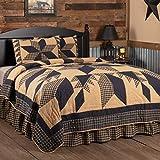 VHC Brands Dakota Star 3 Piece King Quilt Set Country Patchwork Design, Black