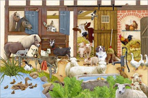 Posterlounge Acrylglasbild 90 x 60 cm: Tiere auf dem Bauernhof von Marion Krätschmer - Wandbild, Acryl Glasbild, Druck auf Acryl Glas Bild