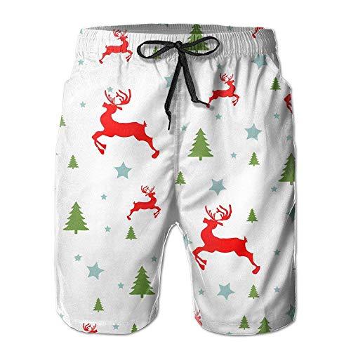 GOSMAO Troncos de natación para Hombre Christmas Deers Shorts Cargo de ventilación ultraligeros de Secado rápido