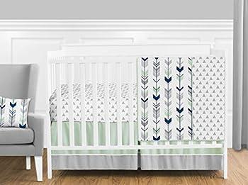 Grey Navy Blue and Mint Woodland Arrow 4 Piece Baby Boy or Girl Crib Bed Bedding Set