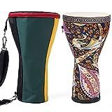 Zhicaikeji Tamburo Djembe Africano 8 Pollici dell'Africa Occidentale Bongo Tamburo Modello Panno Africano Djembe Tamburo con Il Sacchetto for i Bambini Principianti Starter