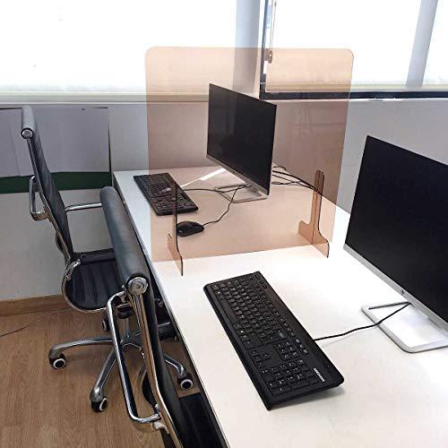 Mampara protectora sobremesa metacrilato transparente color oro. Separación protección mesas oficinas, bares, comercios. (ANCHO 70 X 65 ALTO)