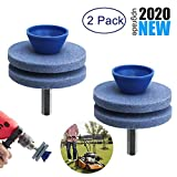 【2020 NEW】Double Layer Corundum Lawn Mower Blade Sharpener, Universal Wear Lawnmower Blade Sharpener for Any Power Drill/Hand Drill, Double-Layer Grindstones Easy to Use and Not Easy Damage(2 Pack)