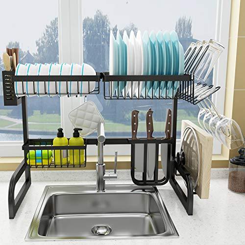 COVAODQ , Escurreplatos sobre fregadero, gran capacidad para la cocina, organización de la vajilla, con 5 ganchos, (62 cm - 80 cm, negro)