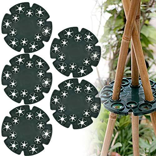 RMENOOR 5 Stück Plastik Kletterhilfe für Pflanzenstützen, Bambus Rankhilfen Set als Pyramide, Bohnen Ring für Bambusstöcke Rankgerüste