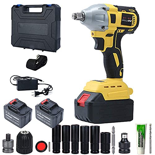 Diossad Craftsman Drill 450N.M Brushless Electric Impact Wrench with 2 x Li-Battery, Cordless Hand Drill Includes Complete Accessories, Drill Chucks, Converters, Bits, etc.