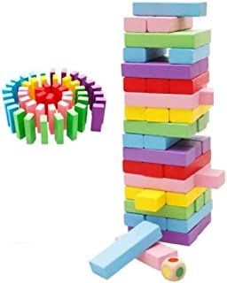 Mini Wooden Tower Wood Building Blocks Toy Domino 48pcs Stacker Extract Building Educational Jenga Game