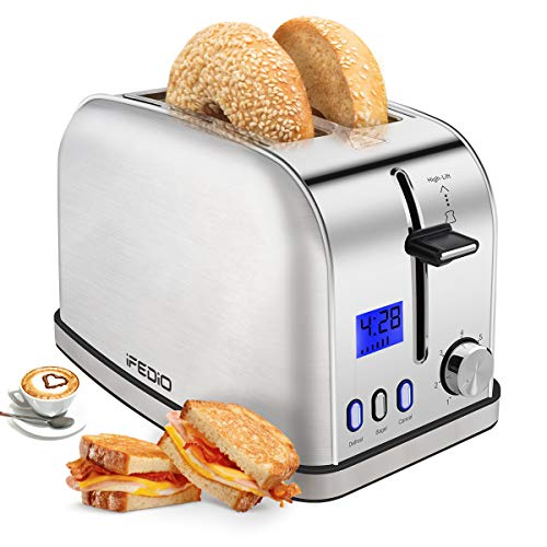 iFedio Best Rated Prime 2 Slice Toaster Stainless Steel with LCD Timer Display Wide Slots Bagel Defrost Cancel Function for Breakfast Removable Crumb Tray, 900W, Silver