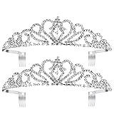 Pixnor 2 Pack Tiara Crown, Crystal Rhinestones Tiara Headband Comb Pin for Wedding Bridal Birthday Party