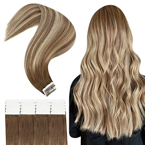 JoYoung Balayage Tape in Hair Extensions Medium Brown mixed with Platinum Blonde Ombre Tape in Extensions Human Hair Remy Human Hair Extensions Tape in Real Straight Hair 20pcs 50g 18inch