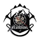Reloj de Pared con Logo de Escalada Sendero para piolet Equipo de Deporte Extremo Reloj de Pared con Disco de Vinilo Regalo de escaladores de montaña