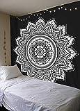 WERT Tapiz de Mandala Indio para Colgar en la Pared, Manta de Alfombra para la Playa, Tienda de campaña, colchón de Viaje, Tapiz para Dormir Bohemio A14 95x73cm