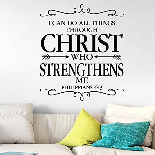 Filipenses 4:13 Puedo hacer todas las cosas a través de Cristo Etiqueta de la pared Versículo de la Biblia Oración Flechas Etiqueta de la pared 48X42cm
