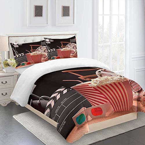 AOJHG Duvet Cover Set Watching Movie Popcorn 3 Pieces Single 180X220Cm With 2 Pillowcases 50X75Cm Bedding Quilt Cover. Easy Care And Super Soft Microfiber Design Zipper Closure