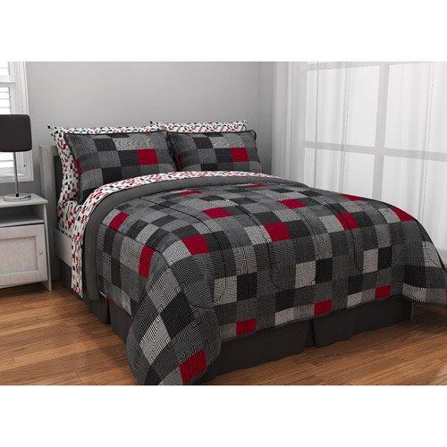 How Do i find Black Gray Red Geo Blacks Loft Dorm Boys Teen Twin