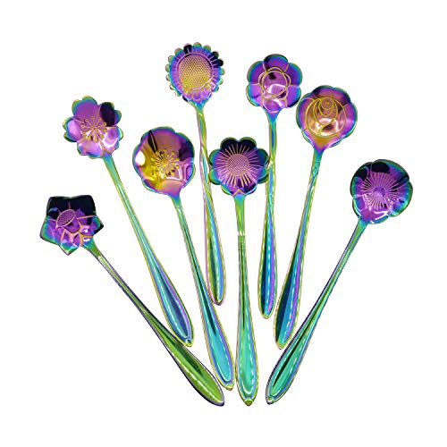 Flower Spoon Set  8pcs DGQ Stainless Steel Teaspoon Rainbow Color for Coffee Tea Mixing Sugar Ice Cream Stir Bar Spoons  8 Diffient Pattern Colorful Mini Cutlery Set