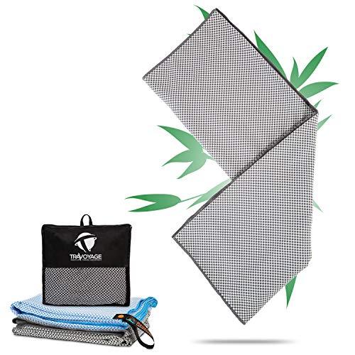 Travoyage ® Mikrofaser Strandtuch mit Taschen für Liege grau 70x180 cm | Mikrofaser Handtuch Bambus schnelltrocknend leicht dünn antibakteriell | Saunatuch Microfaser Strandtuch mit Kopfteil