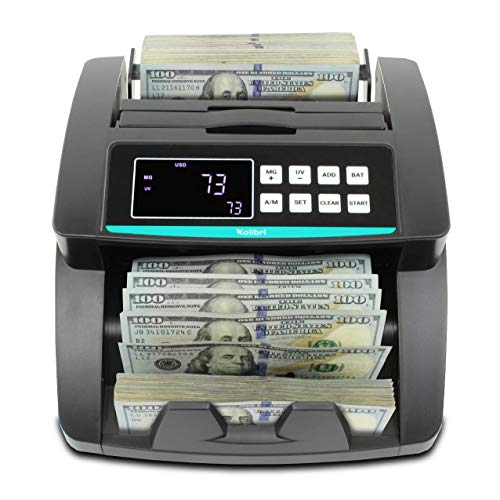 Kolibri Money Counter with UV/MG/IR/DBL/HLF/CHN Counterfeit Detection - Bill Counting Machine - Large LED Display - 1,500 Bills/Min - Doesn't Count Value - 1-Year Warranty