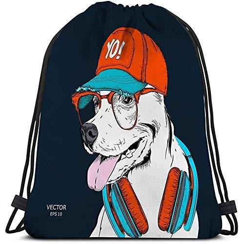 Trekkoord Rugzak Tas, Gym zak, afbeelding hond bril koptelefoon hip hop hoed afbeelding hond bril koptelefoon hip Variegated