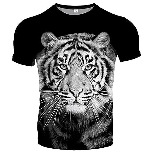 Herren T-Shirt Sommer 3D Lustige Grafik Kurzarm Rundhalsausschnitt Casual Fit Slim T-Shirts Tops für Daily-M