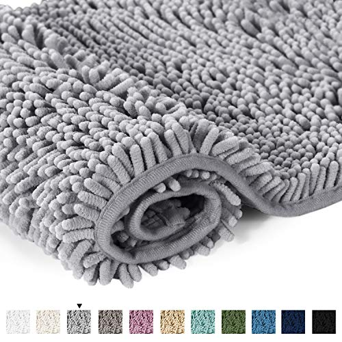 H.VERSAILTEX Microfiber Bath Rugs Chenille Floor Mat Ultra Soft Washable Bathroom Dry Fast Water Absorbent Bedroom Area Rugs Gray, 20 inches by 32 inches
