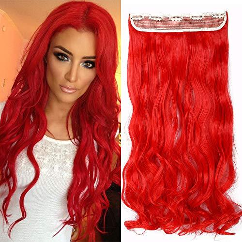 TESS Haarteil Clip in Extensions wie Echthaar Rot Haarverlängerung 1 Tresse 5 Clips günstig Gewellt Haarverdichtung 29