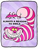 The Northwest Company Disney Alice in Wonderland Cheshire Cat Just Smile Micro Raschel Fleece Throw Blanket 46' x 60' (116cm x 152cm)