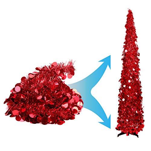 Joy-Leo Lametta-Weihnachtsbaum mit Pailletten, 1,5 m, einfach zu montieren und aufzubewahren, für kleine Räume, Wohnung, Kamin, Party, Zuhause, Büro, Geschäft, Klassenzimmer, Weihnachtsdekoration