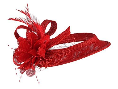 EOZY Mujer Tocado de Boda Sombrero Hueco con Pluma Flor Vintage Rojo
