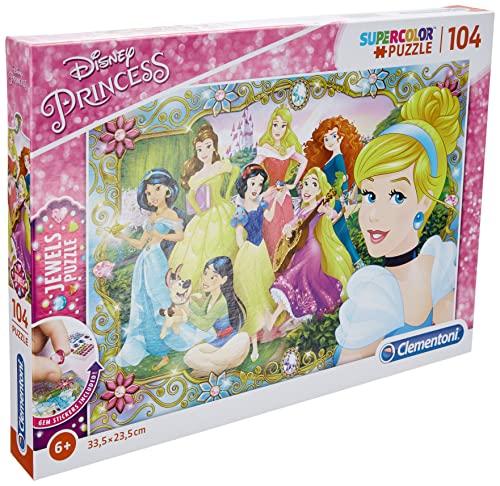 Clementoni Disney Puzzle 104 Piezas con Joyas Princess, Multicolor, única (20147.1)