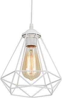Lámpara de techo blanca industrial vintage estilo retro, lámpara de techo, jaula de metal, industrial, lámpara colgante Droplight, lámpara E27, enchufe (bombilla no incluida).