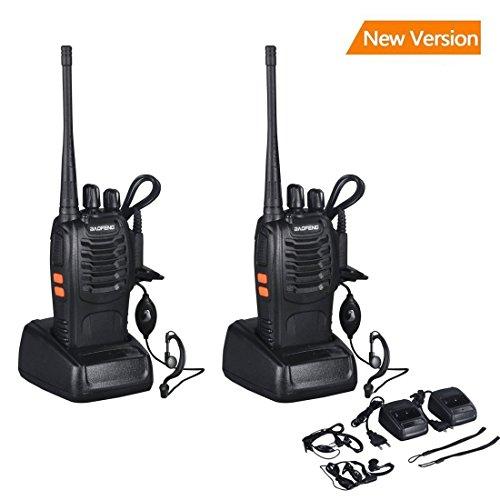 walkie talkie, BF-888S transceptor recargable 16 Canales,  Alcance de hasta 6 km, 5W, transmisores-receptores radio bidireccional con Auriculares-Negro (un par)