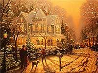 5Dダイヤモンドペインティングストリートフルスクエア手工芸品ダイヤモンド刺繍風景モザイク冬の家の装飾ウォールアート