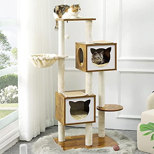 MSmask Kratzbaum für Katzen, Stabiler katzenbaum mit Kratzsisal , Kratzbaum aus Holz 136cm Kratzbaum mit 2 Eigentumswohnungen und Korb (Braun)