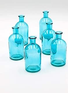 Serene Spaces Living Blue Medicine Bottle Bud Vases, Set of 6 - Antique Vases Provide Vintage Style Anywhere, 5.25