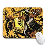 Gaming mouse pad gelbe afrikanische abstrakte jazz saxophonist der stadt musik rutschfeste gummi backing computer mousepad für notebooks maus matten