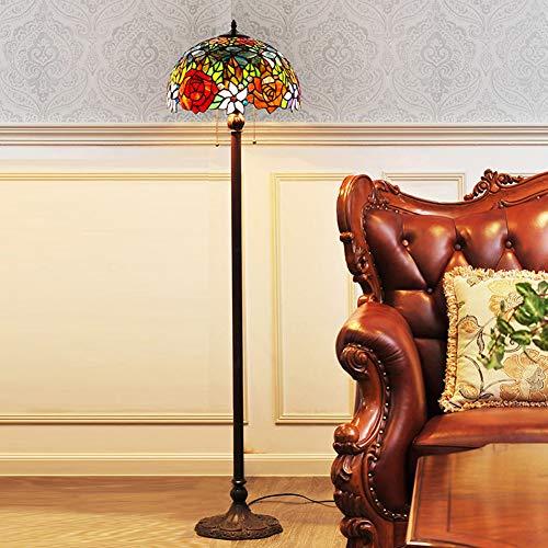 LAMP-XUE Tiffany-stijl vloerlamp 16 inch rode rozen bruiloft glas decoratie vloerlamp glasschilderij schaduw 2-licht-antieke basis voor slaapkamer woonkamer leeslampen