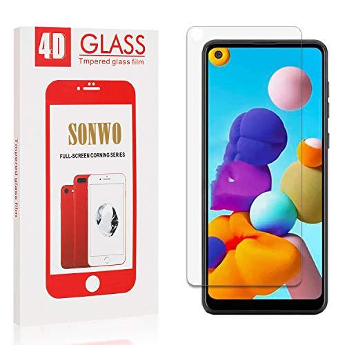 SONWO Panzerglas Schutzfolie für Galaxy A21, 1 Stück Anti-Kratzen Displayschutzfolie für Samsung Galaxy A21, 9H Härte, Anti-Kratzen