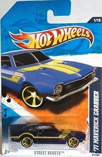 2011 Hot Wheels 1971 MAVERICK GRABBER street beasts 1 of 10, #81 dark BLUE with yellow stripes, spokes, and rims