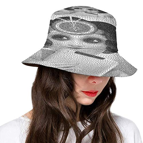 FULIYA Packable Fisherman Bucket Sun Hat,Pointillist of Pencil Drawn Curly Haired Girl Holding Her Tablet,Cap for Women Men Teens